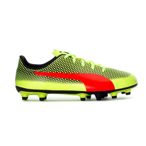 PUMA JUNIOR SPIRIT FG FIZZY YELLOW RED BLAST BLACK SOCCER CLEAT