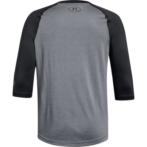 UNDER ARMOUR MENS 3/4 SLEEVE STEEL/BLACK BASEBALL T-SHIRT