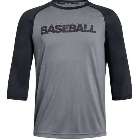 UNDER ARMOUR YOUTH 3/4 SLEEVE STEEL/BLACK BASEBALL T-SHIRT