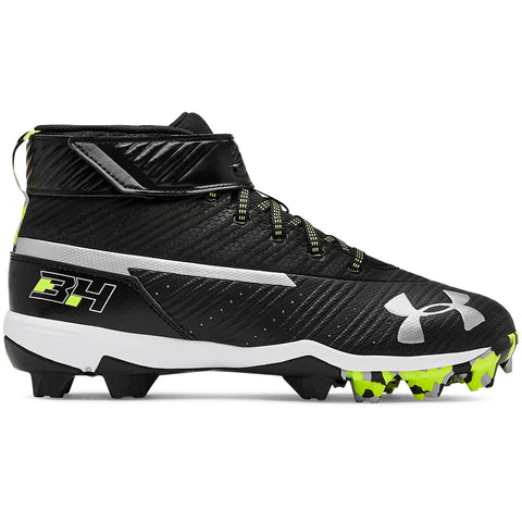 df3cc824e UNDER ARMOUR JUNIOR HARPER 3 MID RM BLACK WHITE BASEBALL CLEAT ...