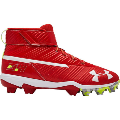 UNDER ARMOUR JUNIOR HARPER 3 MID RM RED/WHITE BASEBALL CLEAT