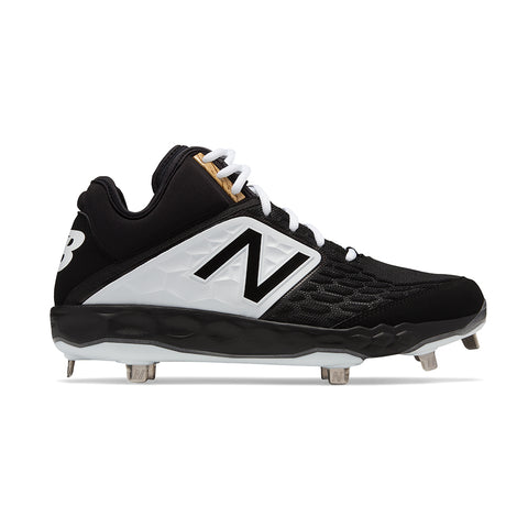 NEW BALANCE MENS 3000 V4 D MID METAL BLACK/WHITE BASEBALL CLEAT