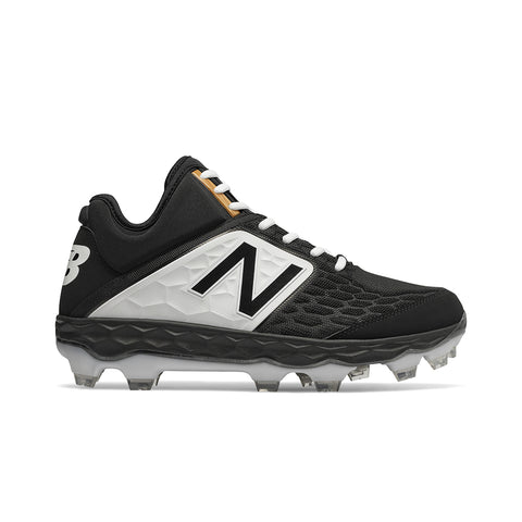 NEW BALANCE MENS 3000 V4 D MID TPU BLACK/WHITE BASEBALL CLEAT