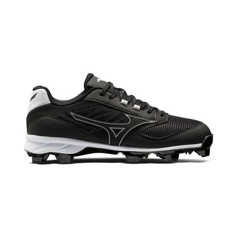 MIZUNO MEN'S 9-SPIKE ADVANCED DOMINANT LOW TPU BASEBALL CLEAT BLACK/WHITE