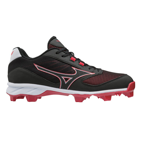 MIZUNO MEN'S 9-SPIKE ADVANCED DOMINANT LOW TPU BASEBALL CLEAT BLACK/RED