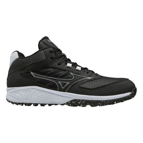 MIZUNO MEN'S DOMINANT ALL SURFACE MID BASEBALL CLEAT BLACK/WHITE