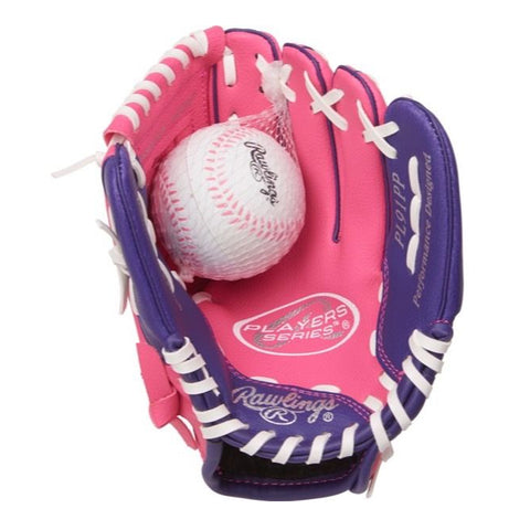 RAWLINGS GIRLS PLAYER SERIES 9 INCH BASEBALL GLOVE WITH BALL