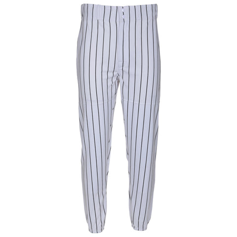 LOUISVILLE MENS WHITE/BLACK LONG BASEBALL PANT WITH ELASTIC ANKLE