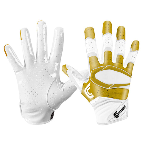CUTTERS S451 REV PRO 2.0 WHITE/METALLIC GOLD FOOTBALL GLOVE
