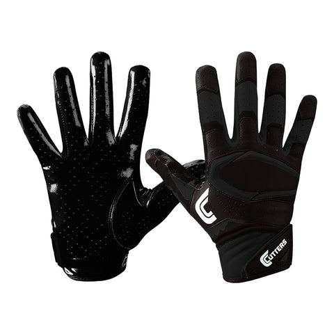 CUTTERS S451-S REV PRO 2.0 SOLID BLACK FOOTBALL GLOVE
