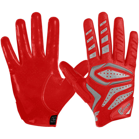 CUTTERS FOOTBALL S651 GAMER 2.0 PADDED RECIEVER RED FOOTBALL GLOVE