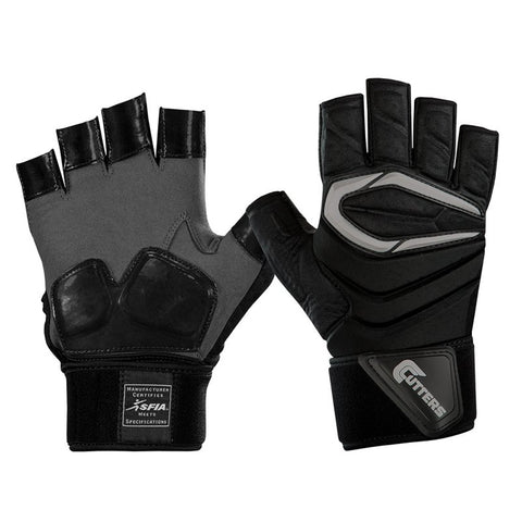 CUTTERS S931H FORCE HALF FINGER 2.0 LINEMAN BLACK FOOTBALL GLOVE