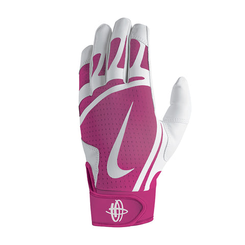 NIKE YOUTH HUARACHE EDGE WHITE/PINK/WHITE BATTING GLOVES