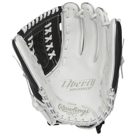 RAWLINGS LIBERTY ADVANCED COLOR SYNC 2.0 12.5 INCH BASKET WEB WHITE/BLACK FASTPITCH GLOVE LEFT HAND THROW
