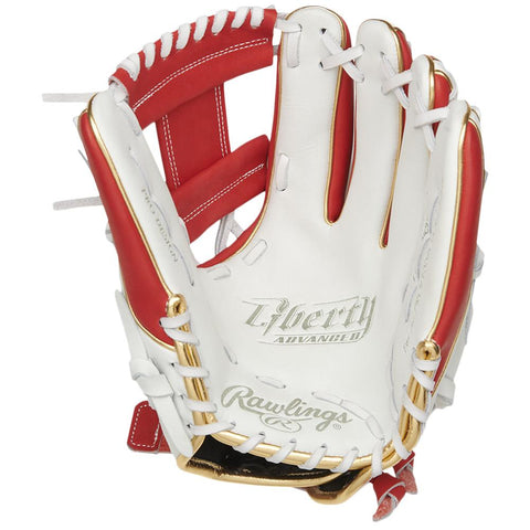 RAWLINGS LIBERTY ADVANCED COLOR SYNC 2.0 11.75 INCH PRO I-WEB WHITE/RED FASTPITCH GLOVE RIGHT HAND THROW