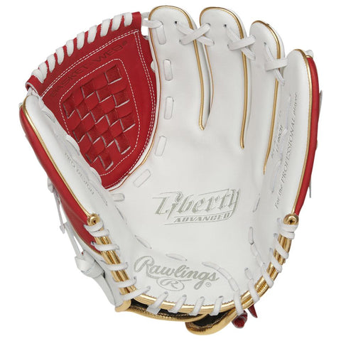 RAWLINGS LIBERTY ADVANCED COLOR SYNC 2.0 12 INCH BASKET WEB WHITE/RED FASTPITCH GLOVE RIGHT HAND THROW