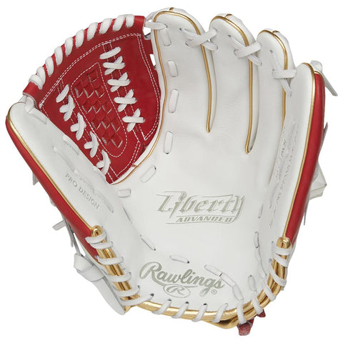 RAWLINGS LIBERTY ADVANCED COLOR SYNC 2.0 12.5 INCH BASKET WEB WHITE/RED FASTPITCH GLOVE LEFT HAND THROW