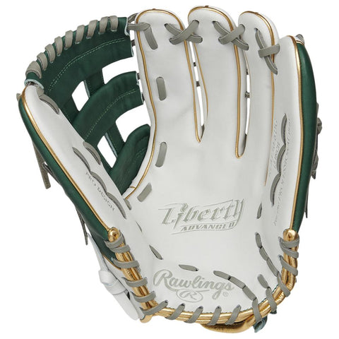RAWLINGS LIBERTY ADVANCED COLOR SYNC 2.0 13 INCH PRO H-WEB GREEN/GOLD SOFTBALL GLOVE LEFT HAND THROW