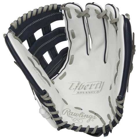 RAWLINGS LIBERTY ADVANCED COLOR SYNC 2.0 13 INCH PRO H-WEB WHITE/NAVY SOFTBALL GLOVE RIGHT HAND THROW