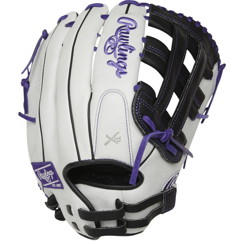 RAWLINGS LIBERTY ADVANCED COLOR SYNC 2.0 13 INCH PRO H-WEB WHITE/PURPLE SOFTBALL GLOVE RIGHT HAND THROW