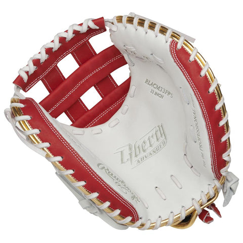 RAWLINGS LIBERTY ADVANCED COLOR SYNC 2.0 33 INCH PRO H-WEB WHITE/RED CATCHERS MITT RIGHT HAND THROW