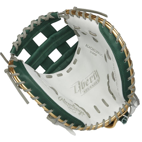 RAWLINGS LIBERTY ADVANCED COLOR SYNC 2.0 33 INCH PRO H-WEB GREEN/GOLD CATCHERS MITT RIGHT HAND THROW