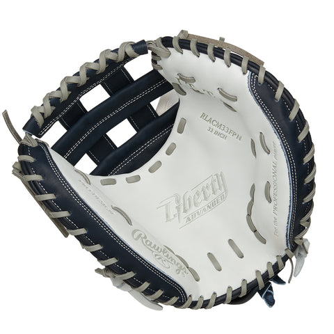 RAWLINGS LIBERTY ADVANCED COLOR SYNC 2.0 33 INCH PRO H-WEB WHITE/NAVY CATCHERS MITT RIGHT HAND THROW