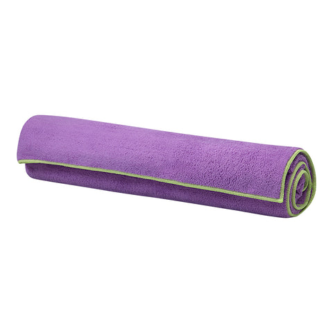 GAIAM YOGA MAT TOWEL PURPLE W/GREEN