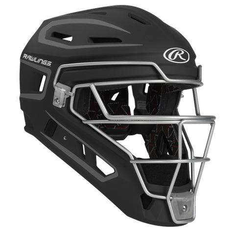 RAWLINGS YOUTH VELO 2.0 BLACK/GRAPHITE CATCHER HELMET