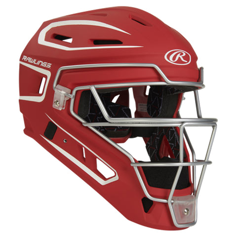 RAWLINGS YOUTH VELO 2.0 SCARLET/WHITE CATCHER HELMET