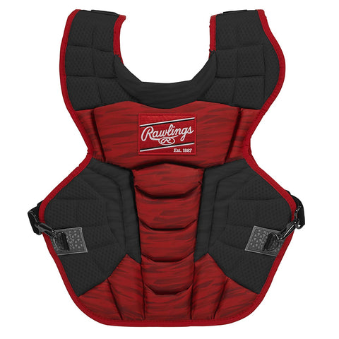 RAWLINGS VELO 2.0 SERIES 17 INCH BLACK/SCARLET CATCHERS CHEST PROTECTOR