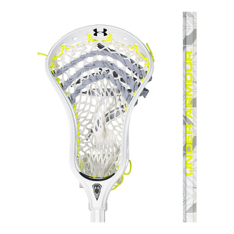 UNDER ARMOUR COMMAND LOW WHITE/GREY/NEON GREEN LACROSSE STICK CLOSE UP