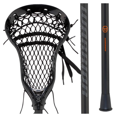 WARRIOR BURN NEXT 54 INCH BLACK DEFENSE FIELD LACROSSE STICK