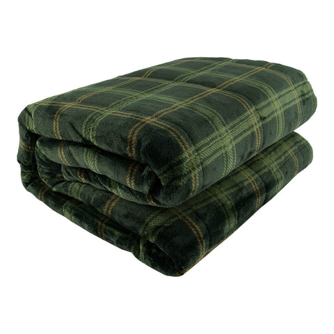 PUR SERENITY GREEN PLAID 15LB (48''X72'') REVERSIBLE WEIGHTED BLANKET