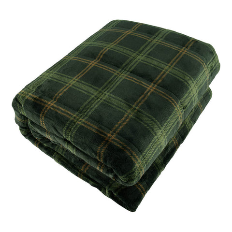 PUR SERENITY GREEN PLAID 15LB (48''X72'') REVERSIBLE WEIGHTED BLANKET TOP VIEW