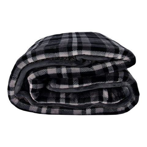 PUR SERENITY CHARCOAL PLAID/GREY 15LB (48''X72'') REVERSIBLE WEIGHTED BLANKET SIDE