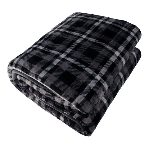 PUR SERENITY CHARCOAL PLAID/GREY 15LB (48''X72'') REVERSIBLE WEIGHTED BLANKET