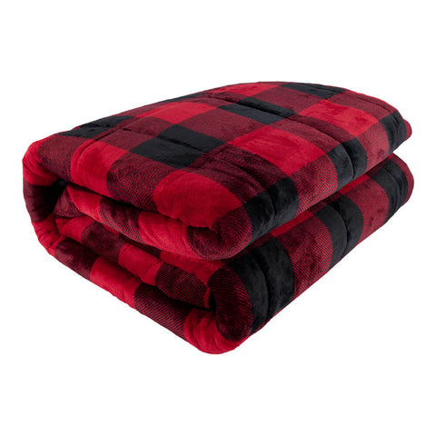 PUR SERENITY RED BLACK BUFFALO PLAID 15LB (48''X72'') REVERSIBLE WEIGHTED BLANKET