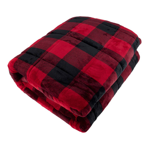 PUR SERENITY RED BLACK BUFFALO PLAID 15LB (48''X72'') REVERSIBLE WEIGHTED BLANKET TOP