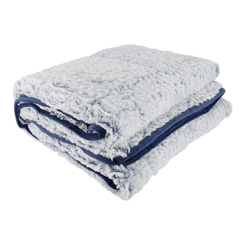 PUR SERENITY FAUX FUR/DEEP NAVY 15LB (48''X72'') REVERSIBLE WEIGHTED BLANKET ANGLE