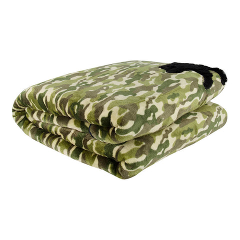 PUR SERENITY BOYS GREEN CAMO WITH BEAR 6LB (40''X60'') REVERSIBLE WEIGHTED BLANKET