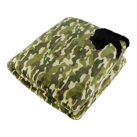 PUR SERENITY BOYS GREEN CAMO WITH BEAR 6LB (40''X60'') REVERSIBLE WEIGHTED BLANKET TOP