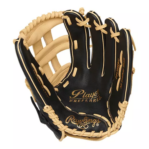 RAWLINGS PLAYER PREFERRED 13 INCH H-WEB BLACK/TAN RIGHT HAND THROW SOFTBALL GLOVE RIGHT HAND THROW