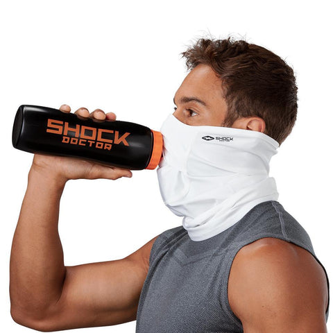 SHOCK DOCTOR PLAY SAFE ADULT FACE/NECK GAITER WHITE TAKING A DRINK