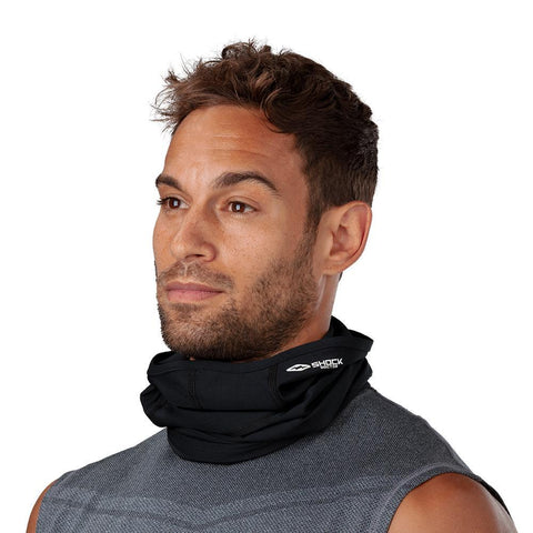 SHOCK DOCTOR PLAY SAFE ADULT FACE/NECK GAITER BLACK DOWN AROUND NECK