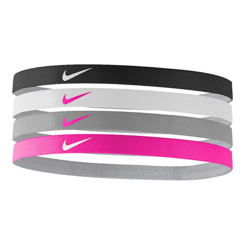 NIKE GIRLS' ASSORTED 4 PACK HEADBAND BLACK/WHITE/PINK