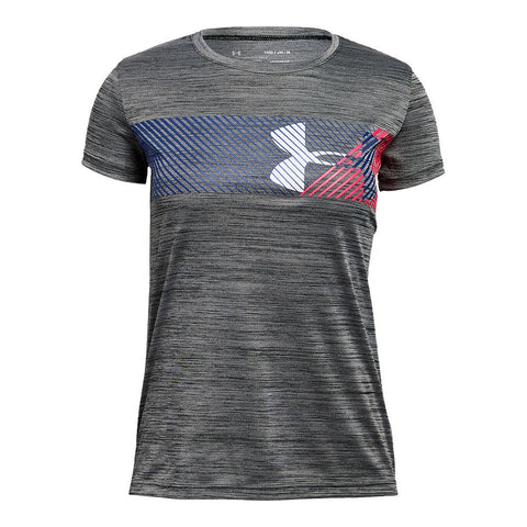 UNDER ARMOUR GIRLS' HYBRID BIG LOGO TEE BLACK