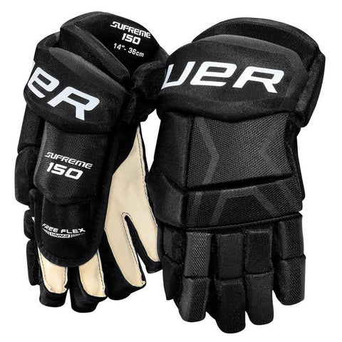 BAUER SUPREME 150 JR HOCKEY GLOVES 11 INCH BLACK