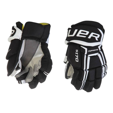BAUER SUPREME S170 YTH HOCKEY GLOVES BLACK/WHITE