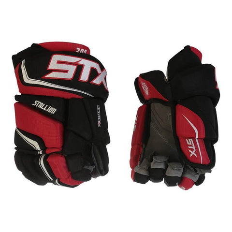 STX STALLION 300 JR HOCKEY GLOVES BLACK/RED